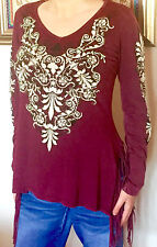 New VOCAL COTTON FRINGE Stone Embellished Graphics Top, M