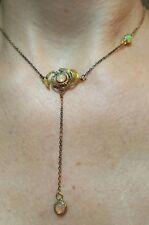 1ct Ethiopian opal lariat pendant drop 925 solid silver drop flower necklace