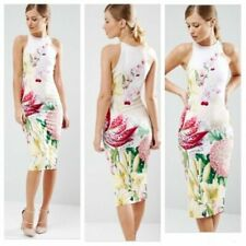 Ted Baker Julie Floral Dress Bodycon Stretch MIDI sz 1 (Small S 4)