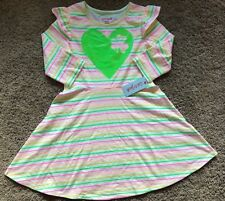NWT Girls White Long Sleeve Multi Color Stripe Cat & Jack Dress XS 4/5