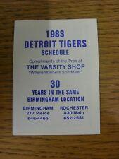 1983 Fixture Card: Baseball - Detroit Tigers (Varsity Shop - fold out style). An