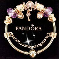 Authentic Pandora Bracelet Silver Bangle with Purple Love European Charms.