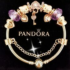 Authentic Pandora Bracelet Silver Bangle with Purple Love European Charms.
