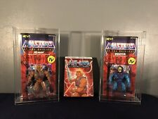 MOTU Lot - Super 7 He-Man and Skeletor in BRAND NEW acrylic display cases & DVDs