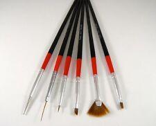 6x Black Nail Art UV Brush Set Pens False Fake Nails Painting Polish Manicure