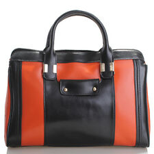 Black & Orange Italian Leather Handbag, Purse Hobo Bag, Satchel, Tote, Clutch