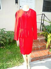 VINTAGE CHRISTIAN DIOR RED LONG SLEEVE BUTTON FRONT DRESS Sz 8