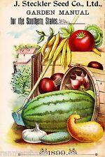 1899 Stckler Vintage Fruit Vegetable Seed Packet Catalogue Advertisement Poster