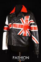 uomo BRANDO inglese Union Jack Vacchetta MOTORINO CRUISER Biker Giacca di pelle
