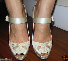 Roberto Cavalli beige satin snakeskin open toe maryjanes high heels 9 ret $699