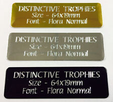 Engraved Metal 64x19mm Aluminium Name Plate Trophy Plaque Photo Frame Engraving