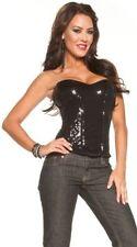 Escante Lingerie Full Sequin Lace Up Back Corset, Black, 32