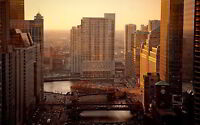 CHICAGO SUNRISE NEW A1 CANVAS GICLEE ART PRINT POSTER
