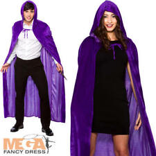 Deluxe Purple Velvet Hooded Cape Adults Fancy Dress Halloween Wizard Costume Ac