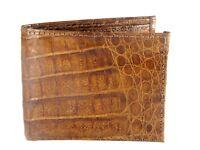Authentic Genuine Alligator Skin Leather Bifold Wallet for Men Handmade (Cognac)