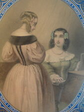 Victorian Framed Artwork Ladies Blue Silver Lithograph Piano Parlor c.1880