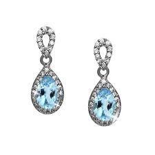 Diamante Azul Topacio Alternativas Pendientes Lágrima Blanco 14k Over 925 Ss