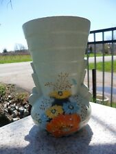 BRENTLEIGH WARE - Art Deco Ceramic Vase - Signed - England 1930's Monkton Floral