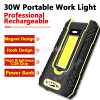 Portable LED Rechargeable 1200 Lumen Bright Work Light Magnetic Base Power Bank
