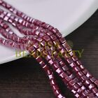 New 100pcs 4mm Cube Square Gold Foil Glass Loose Spacer Beads Deep Red