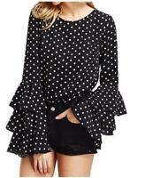 Women's Blouse Polka Dot Ruffle Flounce Long Sleeve Round Neck Elegant Tee Tops
