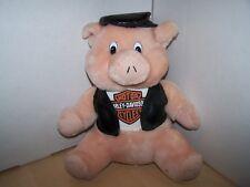 "Harley Davidson Pig Plush Vest Sideways Hat 12"" Stuffed Sitting Biker - OFFICIAL"