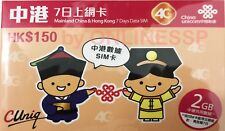 CHINA UNICOM HK 4G LTE 3G CHINA HONG KONG 7 DAYS 2GB PAYG PREPAID DATA SIM