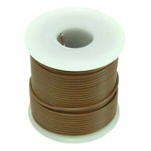 100ft 20awg 20ga Teflon Silvered Copper Brown Stranded Hook Up Wire