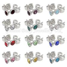 Birthstone 4 mm CZ & Surgical steel stud earrings Fits standard Ear Piercing