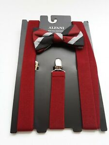 ALFANI  PRE-TIE Bow Tie &  Fits All Clip-End Red Suspenders .