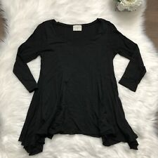 Anthropologie T.LA Sm Black Scoop Neck Loose Fit Blouse 3/4 Sleeve Asymmetrical