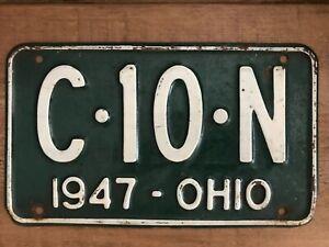 AMERICAN NUMBER PLATE ORIGINAL OHIO VINTAGE 1947 C.10.N AUTOMOBILIA