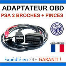 Adaptateur PSA 2 broches + pinces vers OBD2 - Compatible DIAGBOX LEXIA PP2000
