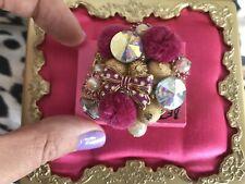 Betsey Johnson HUGE Vintage Varsity Crush Pink Pom Pom Crystal Bow Cluster Ring