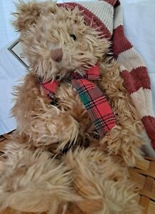 """NEW Russ Chestnut Bear Cord Paws Stocking Hat Bow 14"""" Furry WEIGHTED PERFECT"""