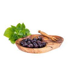 "Olive Wood Serving Dish for Olives With Olive Fork - Handmade Sectioned -  6.7"""