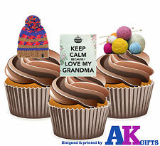 Mothers Day Keep Calm I Love My Grandma Knitting Mix 12 Edible Cup Cake Toppers