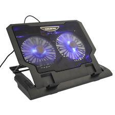 """USB 2 Cooler Fan Cooling Pad 12""""-17.4"""" Laptop LED Light Adjustable Stand"""