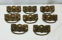 8 Antique Brass Dresser Pulls Desk Drawer Handles Vintage Victorian Furniture