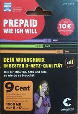 Telekom D-Netz congstar   prepaid wie ich will SIM-Karte 10 € Guthaben Wunschmix