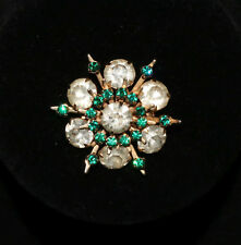 Star Snowflake Brooch Pin - Vintage Green and Silver Rhinestone Costume Jewelry