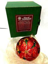 Slavic Treasures Blown Glass Ornament Flower Poinsettia Original Box