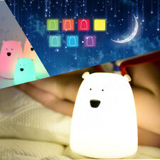Bear Silicone Rechargeable Color Change LED Night Light Colorful for Kids Child
