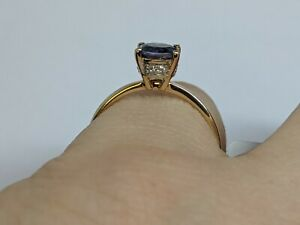 Beautiful .68cts Bengal Iolite &white topaz 9ct Gold ring size N½-O 9k.