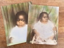 "Two Vtg African American Baby Photos 8"" x 10"""