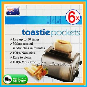 6x Toastie Pockets Bag Non-Stick Reusable Toast Sandwich Baking Oven Kitchen