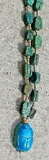 """Vtg Sterling Silver Egyptian Faience Glazed Turquoise Scarab Bead 27"""" Necklace"""