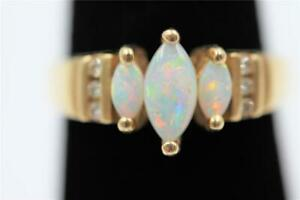 GORGEOUS 14K SOLID GOLD 6 AUTHENTIC DIAMONDS & MARQUISE FIRE OPALS SIZE 6.5 RING
