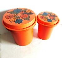 2 1970s Rubbermaid Nesting Mod Flower Orange Plastic Kitchen Canisters FREE SH