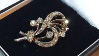Silver colour & clear paste stone vintage Art Deco antique flower brooch B